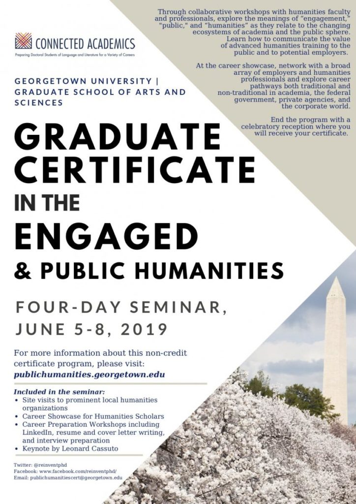 Graduate Certificate in the Engaged and Public Humanities Flyer - Four Day seminar, June 5-8, 2019