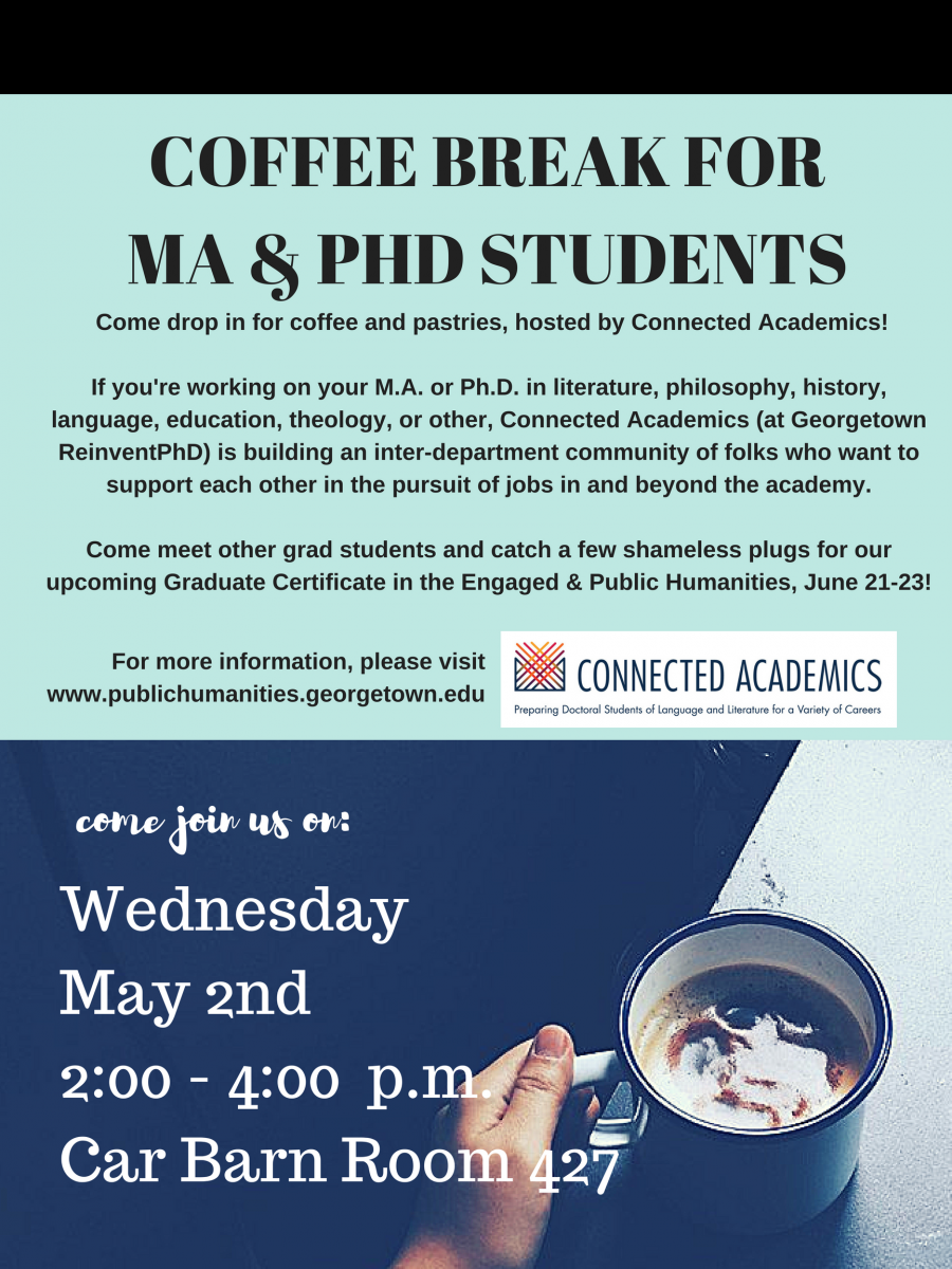 coffee break MA and PhD Students, Wednesday May 2nd, 2:00 - 4:00 pm Car Barn, Room 427