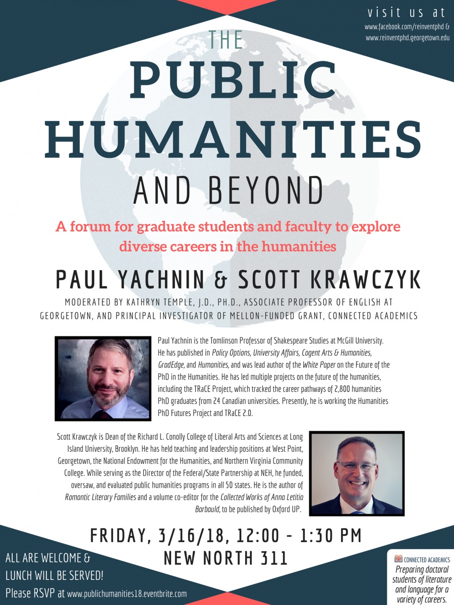 The Public Humanities and Beyond - a forum for graduate students and faculty to explore diverse careers in the humanities - Paul Yachnin and Scott Krawcyk - March 16, 2018