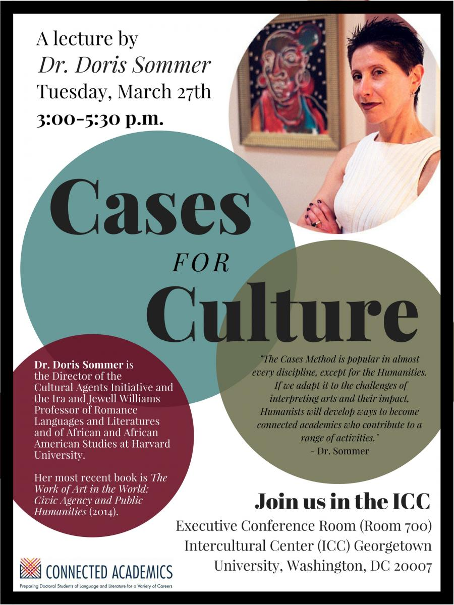 A lecture by Dr. Doris Sommer, Tuesday, March 27th, 3pm to 5:30 Pm - Cases For Culture - Executive Conference Room (Room 700) Intercultural Center Georgetown